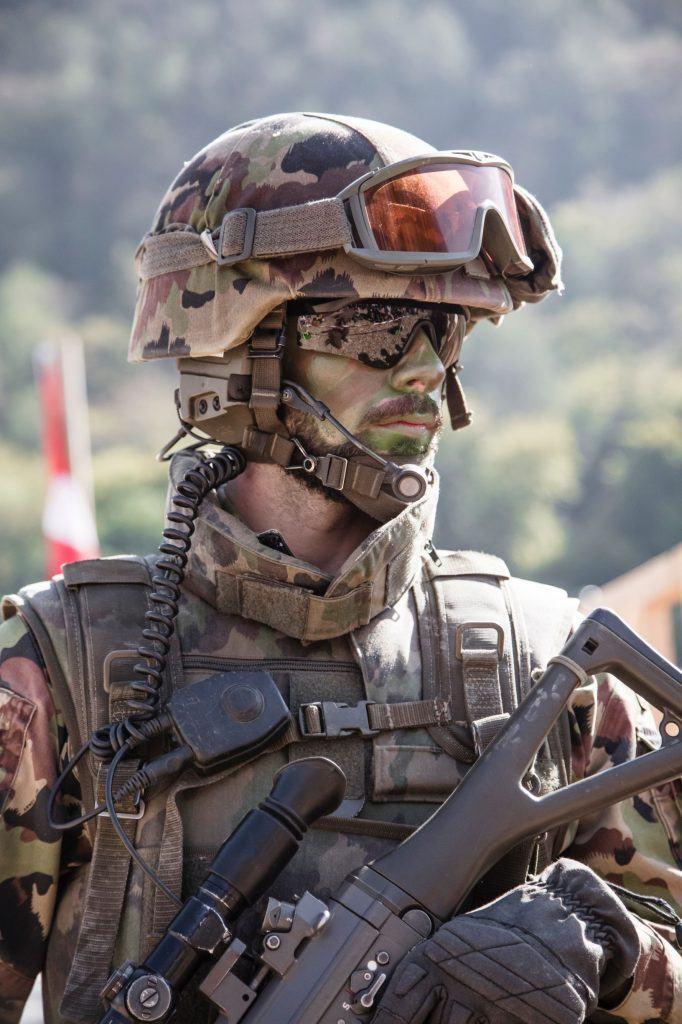 Swiss Army Recruit wearing plastic eyeglass frames. Image Credit: Jan Abellan